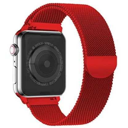 Wolait Compatible with Watch Band 38mm 40mm 42mm 44mm, Stainless Steel Mesh with Adjustable Magnetic Closure for iWatch Series 4 Series 3 Series 2 Series 1 (Red, 38mm/40mm) 2