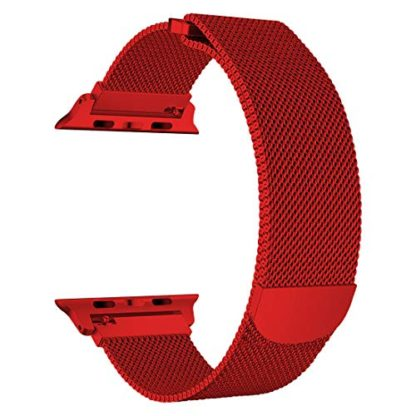 Wolait Compatible with Watch Band 38mm 40mm 42mm 44mm, Stainless Steel Mesh with Adjustable Magnetic Closure for iWatch Series 4 Series 3 Series 2 Series 1 (Red, 38mm/40mm) 1