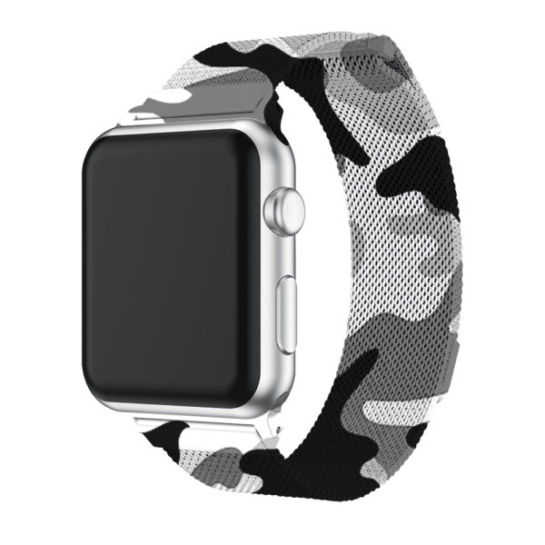 Wolait Compatible with Watch Band 38mm 40mm 42mm 44mm, Stainless Steel Mesh with Adjustable Magnetic Closure for iWatch Series 4 Series 3 Series 2 Series 1 (Camouflage Grey, 42mm/44mm) 2