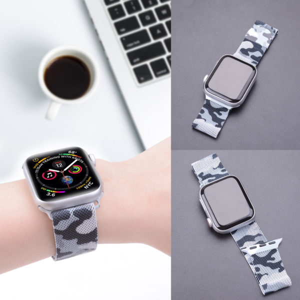 Wolait Compatible with Watch Band 38mm 40mm 42mm 44mm, Stainless Steel Mesh with Adjustable Magnetic Closure for iWatch Series 4 Series 3 Series 2 Series 1 (Camouflage Grey, 42mm/44mm) 4