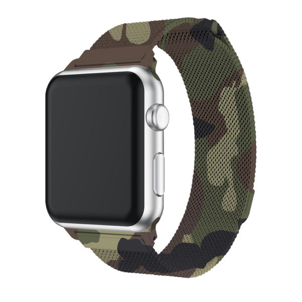 Wolait Compatible with Watch Band 38mm 40mm 42mm 44mm, Stainless Steel Mesh with Adjustable Magnetic Closure for iWatch Series 4 Series 3 Series 2 Series 1 (Camouflage Green, 42mm/44mm) 2