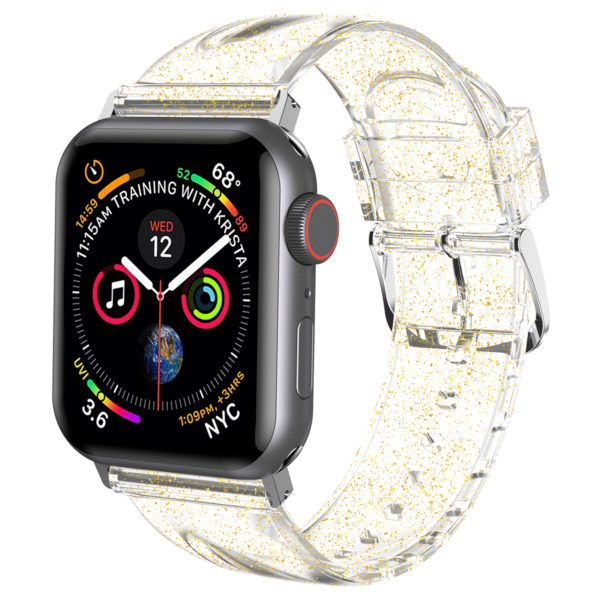 Wolait Compatible with Apple Watch Band 44mm 42mm, Premium Clear Glitter Soft Silicone Strap for iWatch Series 5 Series 4/3/2/1 Women Girls (42mm/44mm Clear +Gold) 1