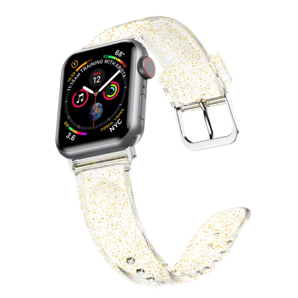 Wolait Compatible with Apple Watch Band 44mm 42mm, Premium Clear Glitter Soft Silicone Strap for iWatch Series 5 Series 4/3/2/1 Women Girls (42mm/44mm Clear +Gold) 2