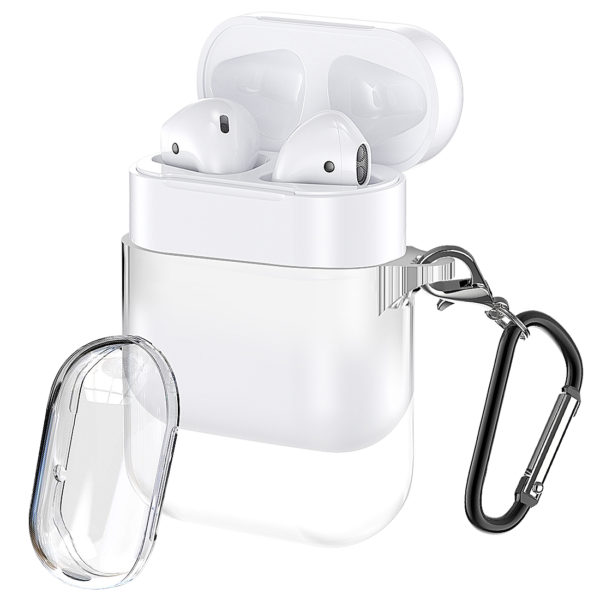 Wolait Compatible with AirPods Pro Case, Crystal Clear Soft Silicon Cover Skin with Anti-Lost Carabiner for AirPods Pro Charging Case [Front LED Visible] (Support Wireless Charging) (Clear) 1