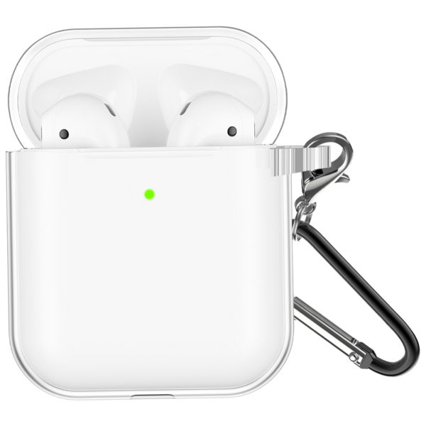 Wolait Compatible with AirPods Pro Case, Crystal Clear Soft Silicon Cover Skin with Anti-Lost Carabiner for AirPods Pro Charging Case [Front LED Visible] (Support Wireless Charging) (Clear) 2