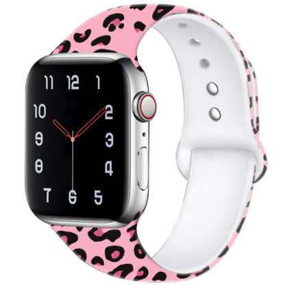 Wolait Compatible with Apple Watch Bands 38mm 40mm 42mm 44mm, Silicone Fadeless Pattern Printed Replacement Sport Band for iWatch Series 5/4/3/2/1 Women Men -Pink Leopard 1