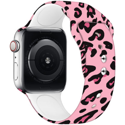Wolait Compatible with Apple Watch Bands 38mm 40mm 42mm 44mm, Silicone Fadeless Pattern Printed Replacement Sport Band for iWatch Series 5/4/3/2/1 Women Men -Pink Leopard 2