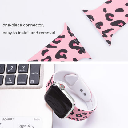 Wolait Compatible with Apple Watch Bands 38mm 40mm 42mm 44mm, Silicone Fadeless Pattern Printed Replacement Sport Band for iWatch Series 5/4/3/2/1 Women Men -Pink Leopard 3