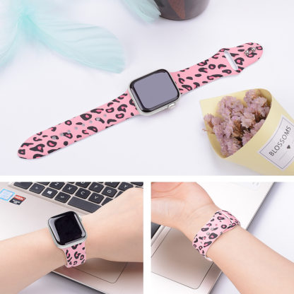 Wolait Compatible with Apple Watch Bands 38mm 40mm 42mm 44mm, Silicone Fadeless Pattern Printed Replacement Sport Band for iWatch Series 5/4/3/2/1 Women Men -Pink Leopard 5