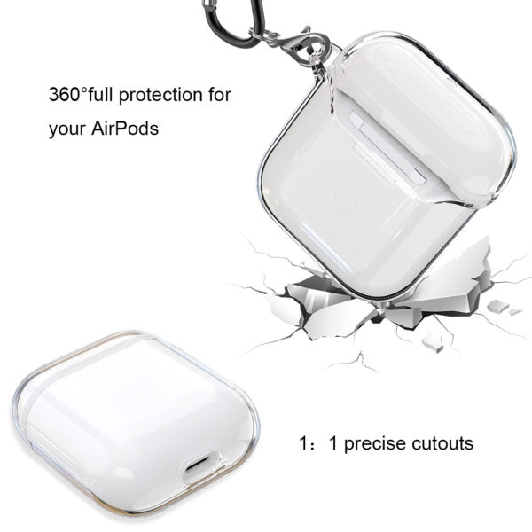 Wolait Compatible with AirPods Pro Case, Crystal Clear Soft Silicon Cover Skin with Anti-Lost Carabiner for AirPods Pro Charging Case [Front LED Visible] (Support Wireless Charging) (Clear) 5