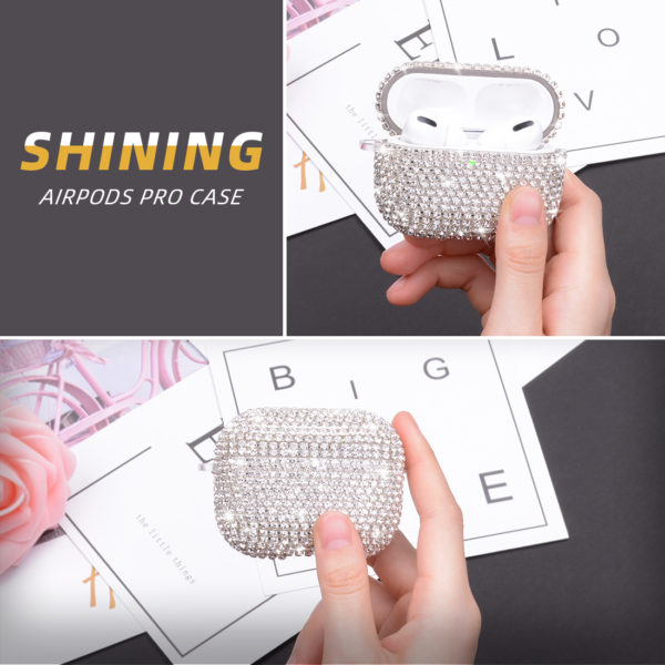 Wolait AirPods Pro Case, Bling Faux Diamond Airpods Pro Charging Case Cover Skin with Carabiner for Apple AirPods Pro 2019 (Silver) 6