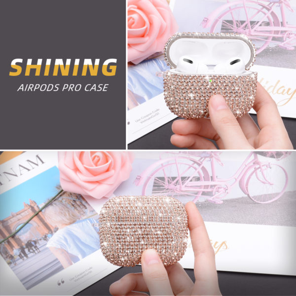 Wolait AirPods Pro Case, Bling Faux Diamond Airpods Pro Charging Case Cover Skin with Carabiner for Apple AirPods Pro 2019 (Rose Gold) 6