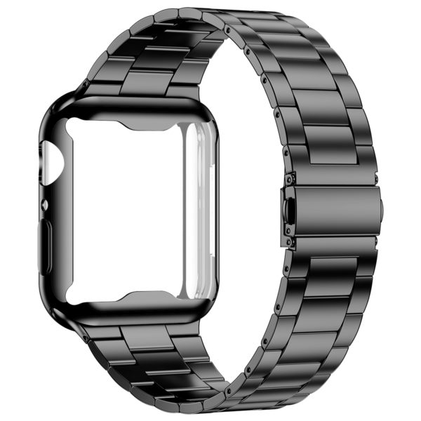 Wolait Compatible with Apple Watch Band 38mm 40mm 42mm 44mm with Case, Ultra Thin Solid Stainless Steel Band for iWatch Series 5/4/3/2/1 Men Women (Black, 44mm) 1