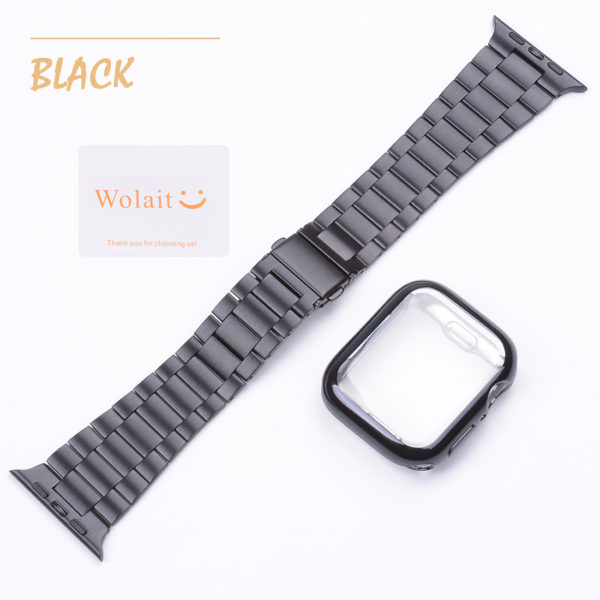 Wolait Compatible with Apple Watch Band 38mm 40mm 42mm 44mm with Case, Ultra Thin Solid Stainless Steel Band for iWatch Series 5/4/3/2/1 Men Women (Black, 44mm) 5