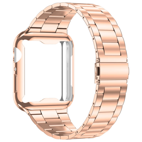 Wolait Compatible with Apple Watch Band 38mm 40mm 42mm 44mm with Case, Ultra Thin Solid Stainless Steel Band for iWatch Series 5/4/3/2/1 Men Women (Rose Gold, 42mm) 1