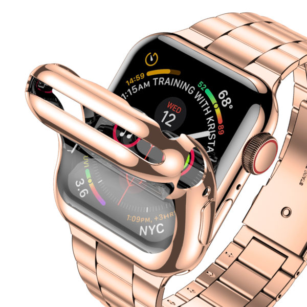 Wolait Compatible with Apple Watch Band 38mm 40mm 42mm 44mm with Case, Ultra Thin Solid Stainless Steel Band for iWatch Series 5/4/3/2/1 Men Women (Rose Gold, 42mm) 2