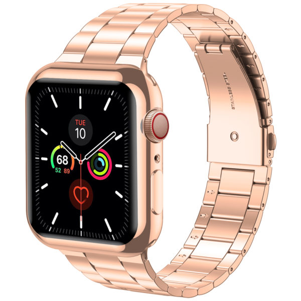 Wolait Compatible with Apple Watch Band 38mm 40mm 42mm 44mm with Case, Ultra Thin Solid Stainless Steel Band for iWatch Series 5/4/3/2/1 Men Women (Rose Gold, 42mm) 3