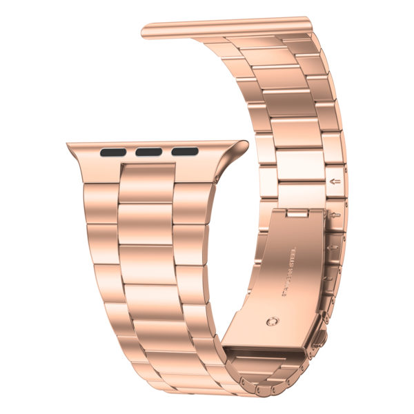 Wolait Compatible with Apple Watch Band 38mm 40mm 42mm 44mm with Case, Ultra Thin Solid Stainless Steel Band for iWatch Series 5/4/3/2/1 Men Women (Rose Gold, 42mm) 4