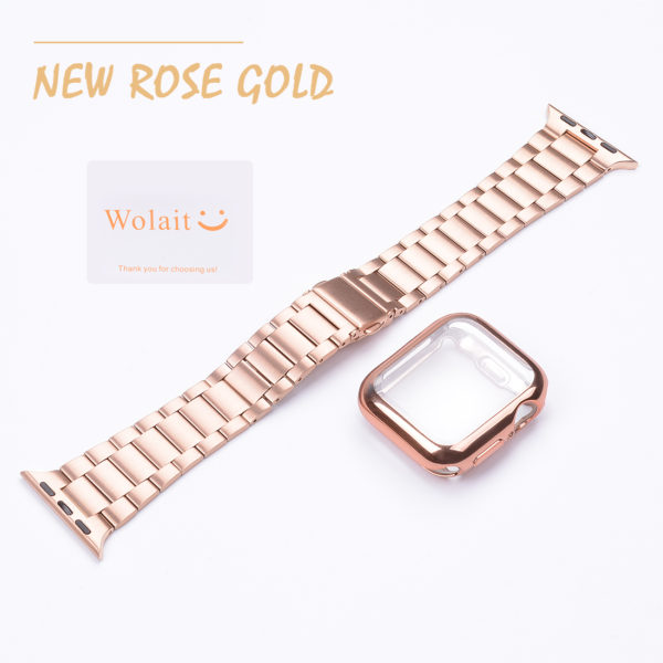 Wolait Compatible with Apple Watch Band 38mm 40mm 42mm 44mm with Case, Ultra Thin Solid Stainless Steel Band for iWatch Series 5/4/3/2/1 Men Women (Rose Gold, 42mm) 5
