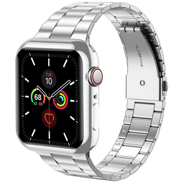 Wolait Compatible with Apple Watch Band 38mm 40mm 42mm 44mm with Case, Ultra Thin Solid Stainless Steel Band for iWatch Series 5/4/3/2/1 Men Women (Silver, 44mm) 3