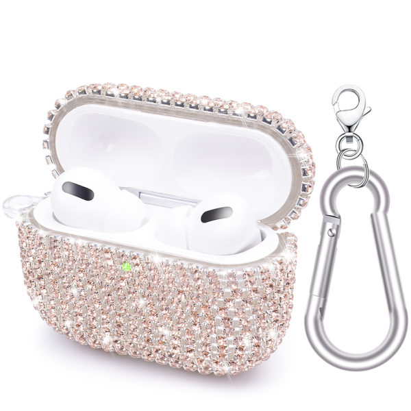 Wolait AirPods Pro Case, Bling Faux Diamond Airpods Pro Charging Case Cover Skin with Carabiner for Apple AirPods Pro 2019 (Rose Gold) 1