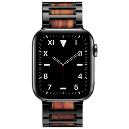 Wolait Compatible with Apple Watch Band 44mm 42mm, Natural Wood Red Sandalwood with Stainless Steel Metal Link Band for iWatch Series 5/4/3/2/1 Men -Red Sandalwood+Black Steel 2