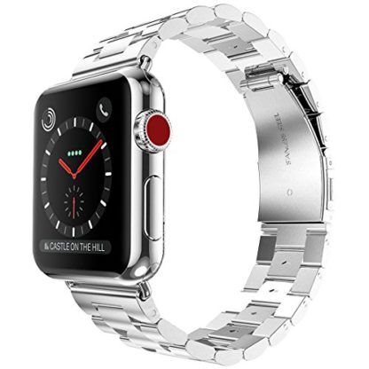 Wolait Compatible with Apple Watch Band 44mm Series 5, Stainless Steel Replacement Band for iWatch Series 5/4 44mm Series 3/2/1 42mm- Silver 1
