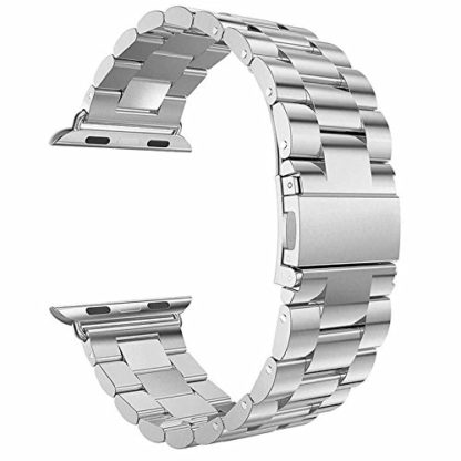 Wolait Compatible with Apple Watch Band 44mm Series 5, Stainless Steel Replacement Band for iWatch Series 5/4 44mm Series 3/2/1 42mm- Silver 2