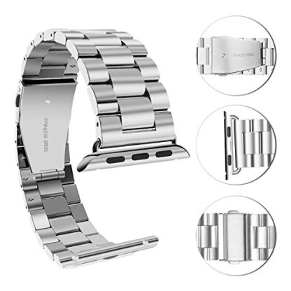 Wolait Compatible with Apple Watch Band 44mm Series 5, Stainless Steel Replacement Band for iWatch Series 5/4 44mm Series 3/2/1 42mm- Silver 3
