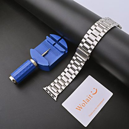 Wolait Compatible with Apple Watch Band 44mm Series 5, Stainless Steel Replacement Band for iWatch Series 5/4 44mm Series 3/2/1 42mm- Silver 4