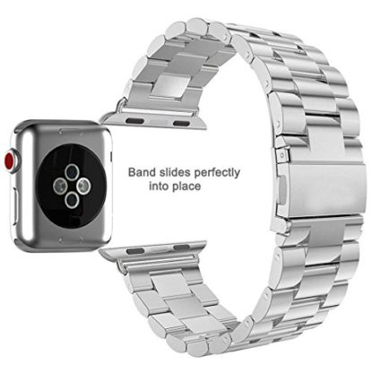 Wolait Compatible with Apple Watch Band 44mm Series 5, Stainless Steel Replacement Band for iWatch Series 5/4 44mm Series 3/2/1 42mm- Silver 7