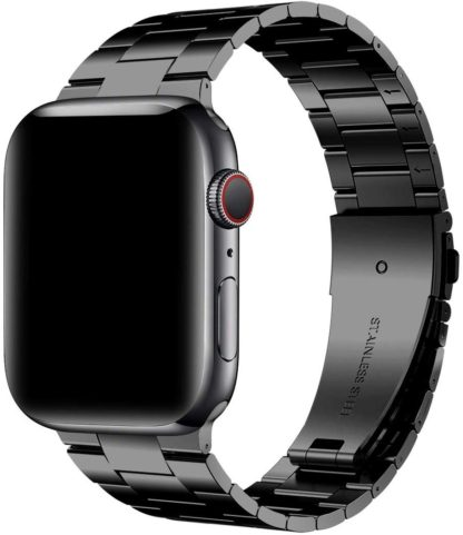 [Upgraded] Wolait Compatible with Apple Watch Band 42mm 44mm, Ultra Thin Solid Stainless Steel Band for Apple iWatch Series 5/4/3/2/1 Men Women -Black 2