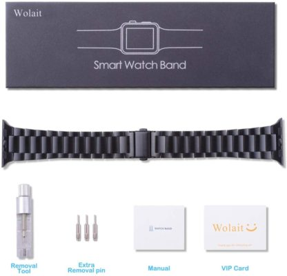 [Upgraded] Wolait Compatible with Apple Watch Band 42mm 44mm, Ultra Thin Solid Stainless Steel Band for Apple iWatch Series 5/4/3/2/1 Men Women -Black 7