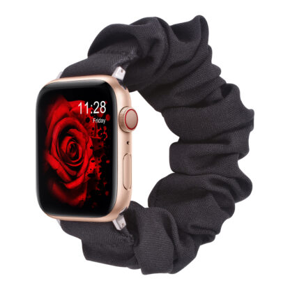 Wolait Compatible with Scrunchie Apple Watch Band 38mm 40mm , Women Girls Soft Cloth Replacement Elastic Bracelet for iWatch Series5/4/3/2/1 -Black, 38mm/40mm-M 1