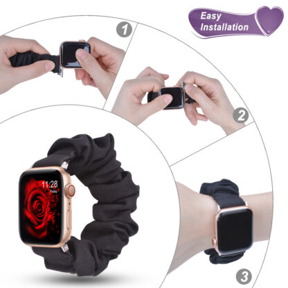 Wolait Compatible with Scrunchie Apple Watch Band 38mm 40mm , Women Girls Soft Cloth Replacement Elastic Bracelet for iWatch Series5/4/3/2/1 -Black, 38mm/40mm-M 5