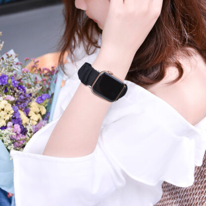 Wolait Compatible with Scrunchie Apple Watch Band 38mm 40mm , Women Girls Soft Cloth Replacement Elastic Bracelet for iWatch Series5/4/3/2/1 -Black, 38mm/40mm-M 6