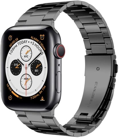 [Upgraded] Wolait Compatible with Apple Watch Band 42mm 44mm, Ultra Thin Solid Stainless Steel Band for Apple iWatch Series 5/4/3/2/1 Men Women -Space Gray 2