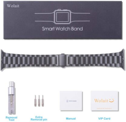 [Upgraded] Wolait Compatible with Apple Watch Band 42mm 44mm, Ultra Thin Solid Stainless Steel Band for Apple iWatch Series 5/4/3/2/1 Men Women -Space Gray 7