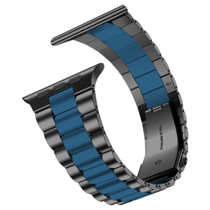 Wolait Compatible with Resin Apple Watch Band 44mm 42mm, Upgraded Fashion Light Stainless Steel Strap Wristband for iWatch SE/Series 6/5/4/3/2/1 Men Women, Black/Dark Blue, 44mm 42mm 3