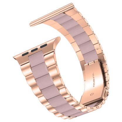 Wolait Compatible with Resin Apple Watch Band 38mm 40mm, Upgraded Fashion Light Stainless Steel Strap Wristband for iWatch SE/Series 6/5/4/3/2/1 Men Women,Rose Gold/Pink, 38mm/40mm 3