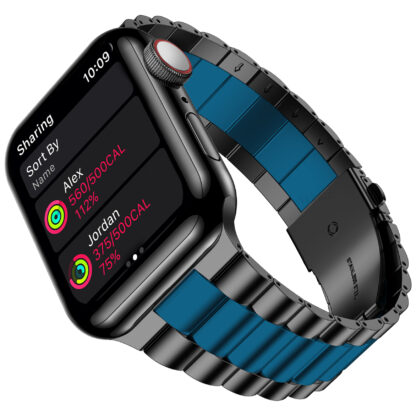 Wolait Compatible with Resin Apple Watch Band 44mm 42mm, Upgraded Fashion Light Stainless Steel Strap Wristband for iWatch SE/Series 6/5/4/3/2/1 Men Women, Black/Dark Blue, 44mm 42mm 2