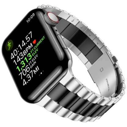 Wolait Compatible with Resin Apple Watch Band 44mm 42mm, Upgraded Fashion Light Stainless Steel Strap Wristband for iWatch SE/Series 6/5/4/3/2/1 Men Women-Silver/Black, 42mm/44mm 2