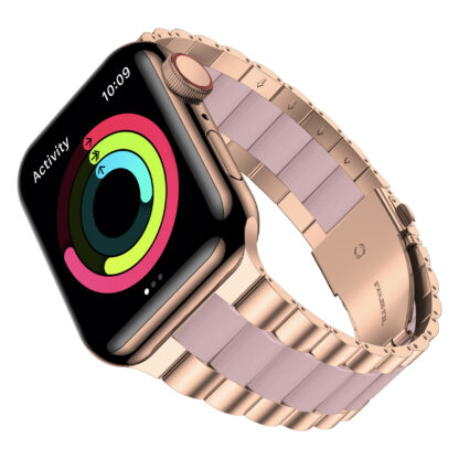 Wolait Compatible with Resin Apple Watch Band 38mm 40mm, Upgraded Fashion Light Stainless Steel Strap Wristband for iWatch SE/Series 6/5/4/3/2/1 Men Women,Rose Gold/Pink, 38mm/40mm 2
