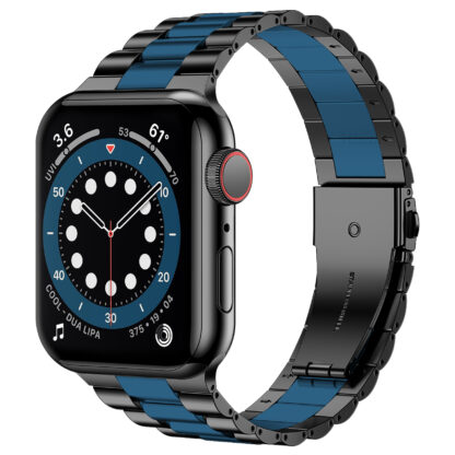 Wolait Compatible with Resin Apple Watch Band 44mm 42mm, Upgraded Fashion Light Stainless Steel Strap Wristband for iWatch SE/Series 6/5/4/3/2/1 Men Women, Black/Dark Blue, 44mm 42mm 1