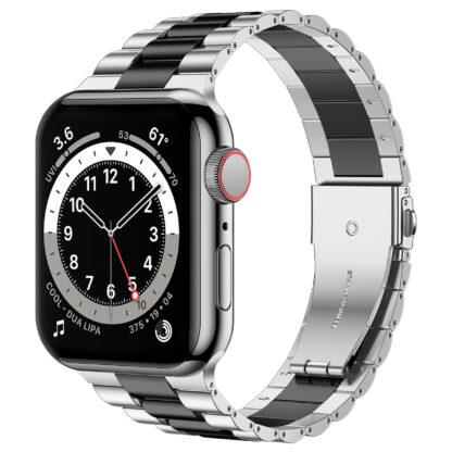 Wolait Compatible with Resin Apple Watch Band 44mm 42mm, Upgraded Fashion Light Stainless Steel Strap Wristband for iWatch SE/Series 6/5/4/3/2/1 Men Women-Silver/Black, 42mm/44mm 1