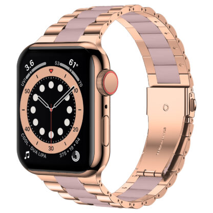 Wolait Compatible with Resin Apple Watch Band 38mm 40mm, Upgraded Fashion Light Stainless Steel Strap Wristband for iWatch SE/Series 6/5/4/3/2/1 Men Women,Rose Gold/Pink, 38mm/40mm 1