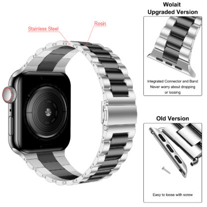Wolait Compatible with Resin Apple Watch Band 44mm 42mm, Upgraded Fashion Light Stainless Steel Strap Wristband for iWatch SE/Series 6/5/4/3/2/1 Men Women-Silver/Black, 42mm/44mm 5