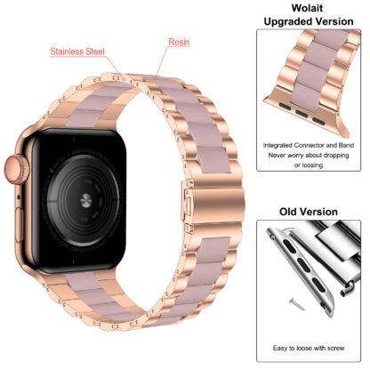 Wolait Compatible with Resin Apple Watch Band 38mm 40mm, Upgraded Fashion Light Stainless Steel Strap Wristband for iWatch SE/Series 6/5/4/3/2/1 Men Women,Rose Gold/Pink, 38mm/40mm 4