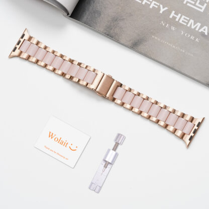 Wolait Compatible with Resin Apple Watch Band 38mm 40mm, Upgraded Fashion Light Stainless Steel Strap Wristband for iWatch SE/Series 6/5/4/3/2/1 Men Women,Rose Gold/Pink, 38mm/40mm 5