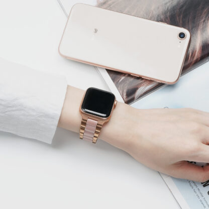 Wolait Compatible with Resin Apple Watch Band 38mm 40mm, Upgraded Fashion Light Stainless Steel Strap Wristband for iWatch SE/Series 6/5/4/3/2/1 Men Women,Rose Gold/Pink, 38mm/40mm 6